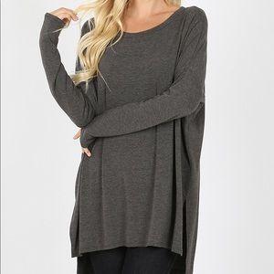 Charcoal Dolman Sleeve Plus Size Top